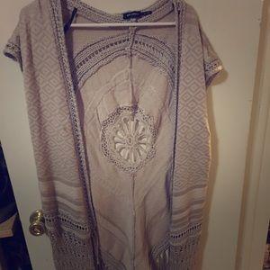 Blue pepper knit fringe vest